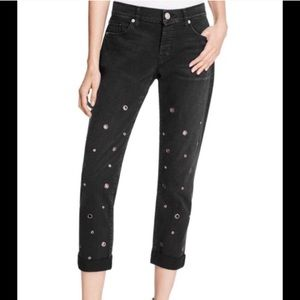 RILEY SLIM FIT BOYFRIEND GROMMET EMBELLISHED JEANS